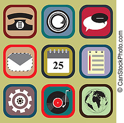 telefono, set, icona, mobile
