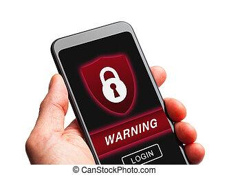 telefono, sicurezza, far male, avvertimento