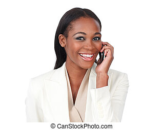 telefono, sorridente, macchina fotografica, donna d'affari, giovane
