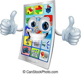 telefono, sorridente, mascotte, mobile