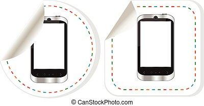 telefono tela, schermo, isolato, fondo, vettore, vuoto, bottone bianco, far male