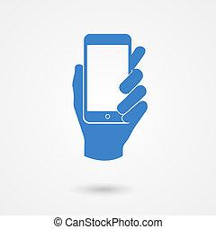 telefono, tenendo mano, far male, icona, blu, mobile