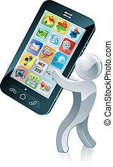 telefono, uomo, argento, mobile