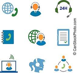 telefono, vettore, contatti, isolato, set, comunicazione, centro, chiamata, icone, mobile, servizio, illustrazione