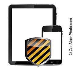 telefono, vettore, mobile, astratto, isolato, bianco, scudo, fondo., realistico, disegno, illustrazione, protettivo, tavoletta