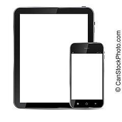 telefono, vettore, vuoto, astratto, isolato, schermo, bianco, fondo., realistico, disegno, illustrazione, mobile, tavoletta