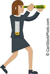 telescopio, affari donna, concetto, spyglass