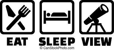telescopio, -, sonno, astronomia, mangiare, vista