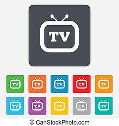 televisore, tv, simbolo., segno, retro, icon.