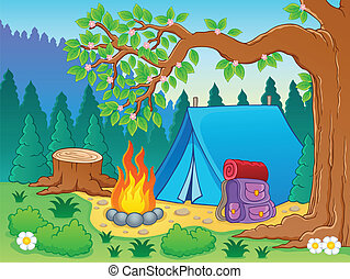 tema, 2, immagine, campeggiare