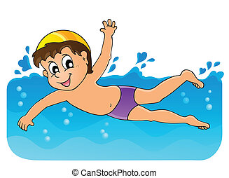 tema, 3, immagine, nuoto