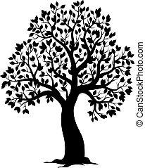 tema, albero frondoso, silhouette
