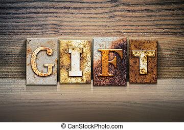 tema, concetto, regalo, letterpress