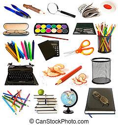 tema, educazione, gruppo, oggetti