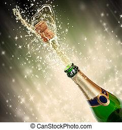 tema, gli spruzzi, celebrazione, champagne
