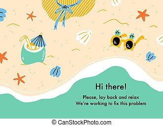 tema, spiaggia, web, fondo, estate, pagina, errore, vacanza