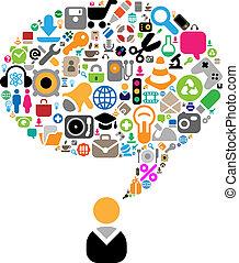 temi, conversazione, set, icone