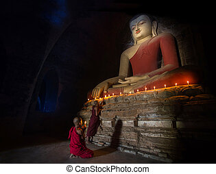 tempio, bagan, dentro, monaco, meditazione, mini