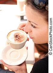 tempo, caffè, godere, giovane
