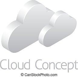 tempo, concetto, nubi, icona