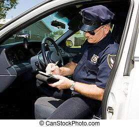 tempo, polizia, -, biglietto