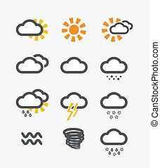 tempo, set, previsione, icone