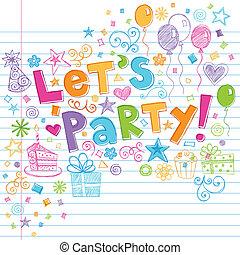 tempo, sketchy, festa, compleanno, doodles