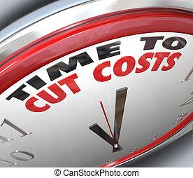 tempo, spendere, ridurre, costi, budget, taglio, più basso