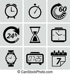 tempo, vettore, icons., illustrazione, orologio