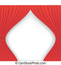 tenda, bianco, teatro, sfondo rosso
