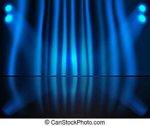 tenda blu, illuminazione, palcoscenico