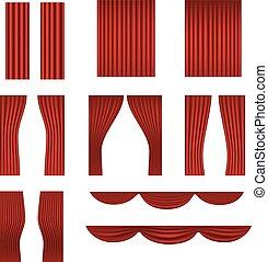 tenda, differente, collezione, vettore, rosso, palcoscenico
