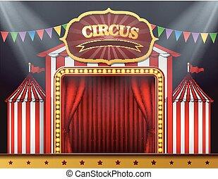tenda, entrata, circo, rosso, chiuso
