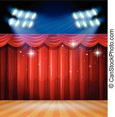 tenda, luce, scena, fondo, rosso, palcoscenico