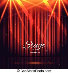 tenda, palcoscenico, chiuso, fondo, rosso