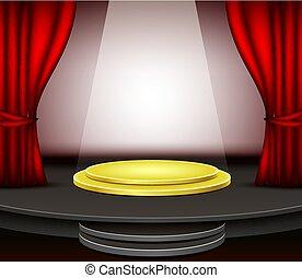 tenda, podio, sfondo rosso, palcoscenico