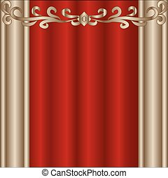 tenda, teatro, rosso, palcoscenico
