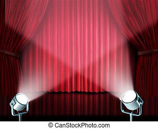 tenda, velluto, riflettori, rosso, cinema