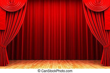 tenda, velluto, scena, rosso, apertura