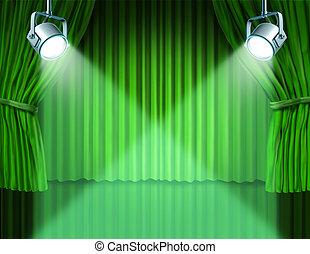 tenda, verde, velluto, riflettori, cinema