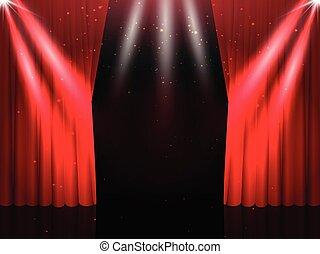 tenda, vettore, palcoscenico