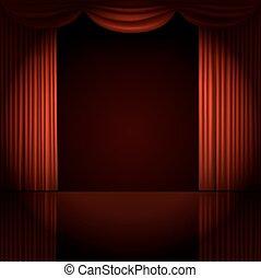 tenda, vettore, riflettore, illustrazione, palcoscenico