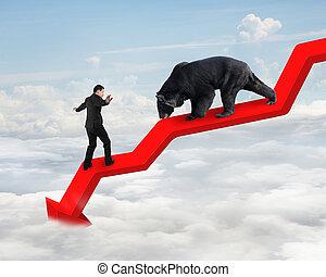 tendenza, cielo, contro, orso, freccia, uomo affari, verso il basso, linea