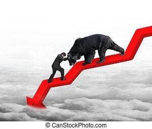 tendenza, contro, orso, freccia, uomo affari, verso il basso, linea, nuvola