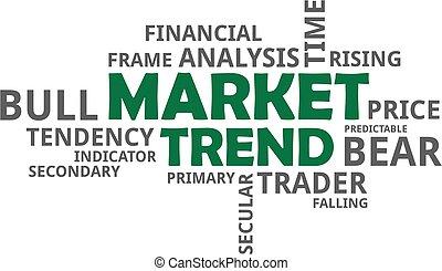 tendenza, parola, -, nuvola, mercato