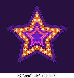 tendone, illustrazione, cornice, retro, luce, appartamento, stella viola