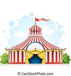 tendone, passeggiare, circo, bandiera, strisce, tenda