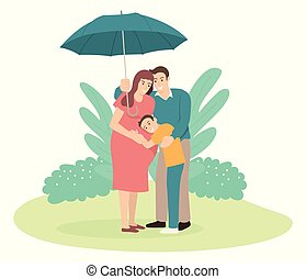 tenendo ombrello, suo, padre, famiglia