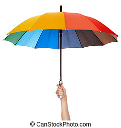 tenendo ombrello, variopinto, isolato