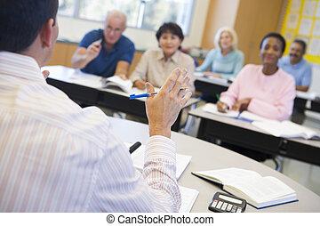 tenere conferenza, studenti, classe, adulto, focus), (selective, insegnante